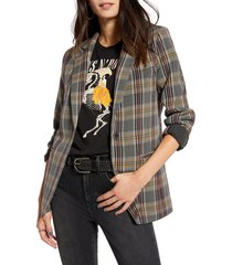 women's treasure & bond menswear plaid blazer