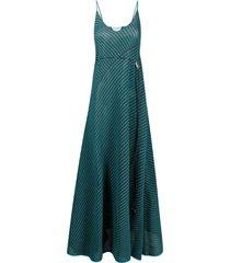 bottega veneta open-knit drawstring maxi-dress - blue