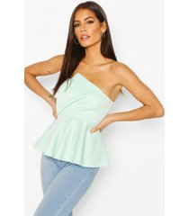 bandeau asymmetric peplum top, mint