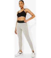 leggings met grote elastische taille band, grey marl