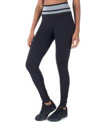 calça legging oxer sem costura fit - feminina - preto/cinza