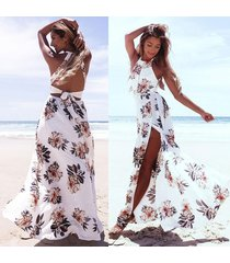 sexy women chiffon dress floral print halter sleeveless split backless hollow ou