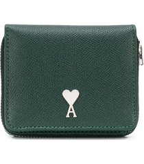 ami paris zip-around leather wallet - green