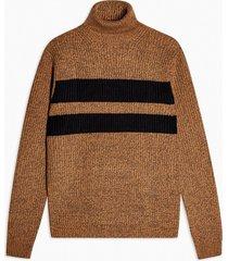 mens brown twist block roll neck sweater