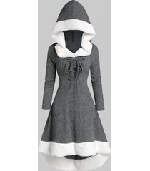 plus size hooded faux fur panel lace up marled knit dress