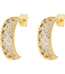 orecchini a lobo in oro bicolore forma semicerchio a specchio per donna