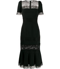 dolce & gabbana lace sheer panel dress - black