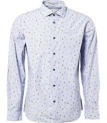shirt, l/sl, allover digital printe indigo blue