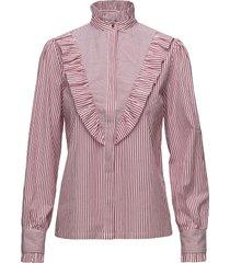 item ruffle shirt blus långärmad rosa notes du nord