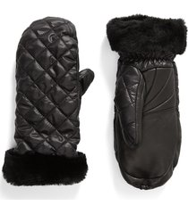 women's ugg quilted performance mittens, size small/medium - black