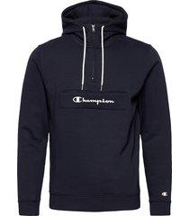 hooded half zip sweatshirt hoodie trui blauw champion