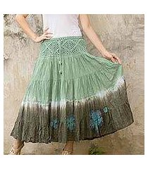 cotton batik skirt, 'green boho chic' (thailand)