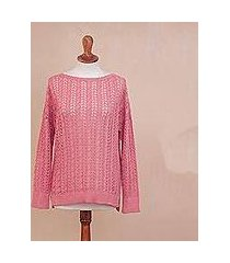 pima cotton pullover, 'sweet warmth in rose' (peru)