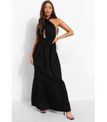 katoenen wikkel maxi jurk met halter neck en losvallende zoom, black