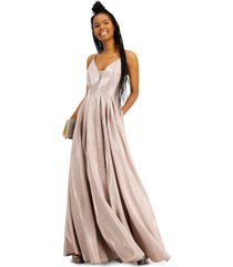 b darlin juniors' sparkle plunge ball gown, created for macy's