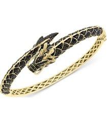 effy black diamond (2-5/8 ct. t.w.) & tsavorite (1/20 ct. t.w.) dragon bangle bracelet in 14k gold