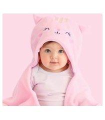 cobertor com capuz papi microfibra bordado gatinha rosa