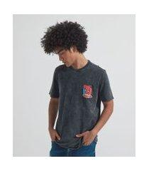 camiseta marmorizada com estampa homem aranha | homem aranha | preto | p