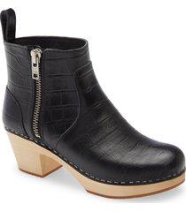 women's swedish hasbeens zip it emy clog bootie, size 8us - black