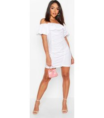 extreme ruffle off shoulder mini dress, white