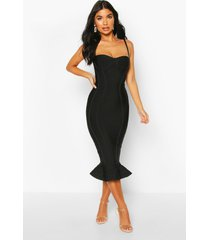 petite bandage frill hem midi dress, black