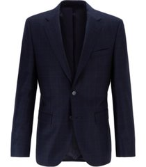 boss men's jewels regular-fit plain-check virgin wool blazer