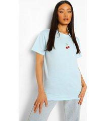 geborduurd kersen t-shirt, pale blue