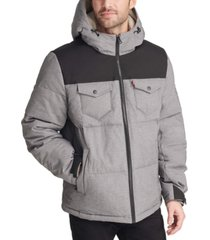 levi's men's quilted mix-media puffer jacket with fleece-lined hood