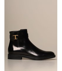 tods flat booties tods ankle boot in brushed leather with metal t buckle