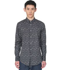 antony morato shirt l/s gun grey with flower print
