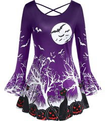 plus size round collar punpkin print flare halloween t shirt