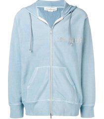 golden goose love dealer zip-up hoodie - blue