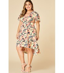 yoins plus size random floral crossed front design v-neck dress