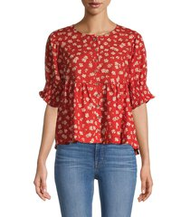 madewell women's floral puff-sleeve top - red - size m