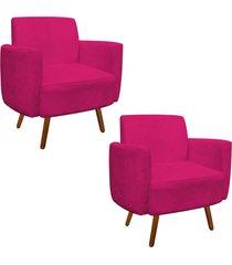 kit 02 poltrona d'rossi decorativa agatha suede pink braços curvos