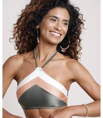 biquíni top halter neck color block com bojo removível proteção uv50+ verde militar