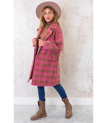 oversized woven coat roze
