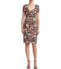 ikat leopard cady shift dress