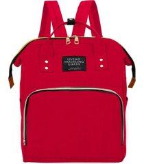 mochila bolsa saída maternidade gestante bebê nova multifunção yepp bags vermelho - kanui