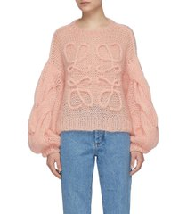 balloon sleeves anagram cable knit mohair sweater
