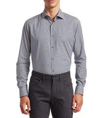 saks fifth avenue men's multicolor mini check shirt - blue - size xxl