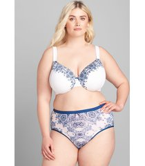 lane bryant women's no-show full brief panty 34/36 bright regal paisley