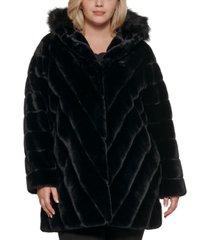 calvin klein plus size chevron hooded faux-fur coat