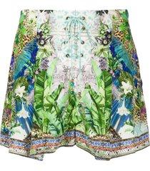 camilla mood garden lace up front shorts - green