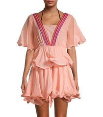 pitusa women's talullah ruffle coverup dress - peach - size petite (xxs-xs-s)