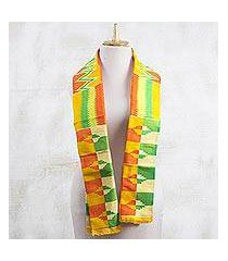 rayon and cotton blend scarf, 'kente royalty' (9 inch) (ghana)