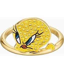 anello con motivo looney tunes titti, giallo, placcato oro