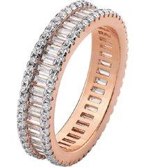 anel cristais bagueti multi cravejado mini zircônias banhado a ouro rosé