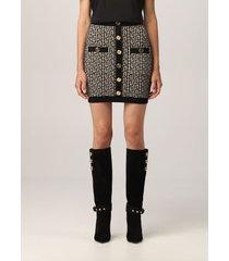 balmain skirt balmain wool blend skirt with all over monogram