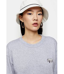 piped bucket hat in white - white